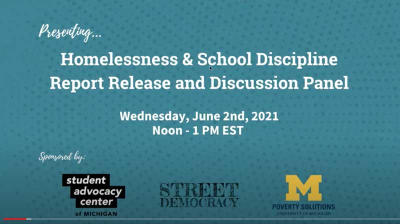 Homelessness and School Discipline Report and Discussion Panel